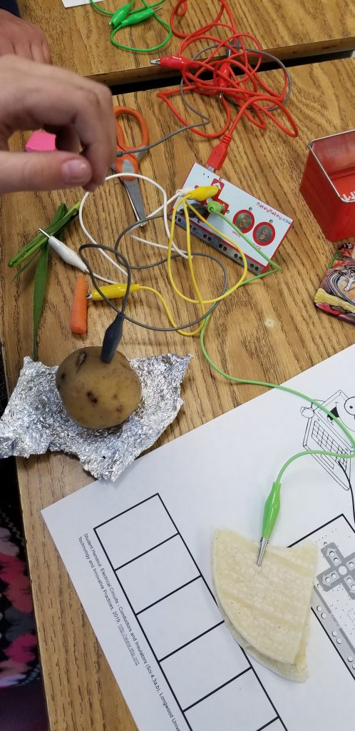 MakeyMakey hooked to a potato and a tortilla.